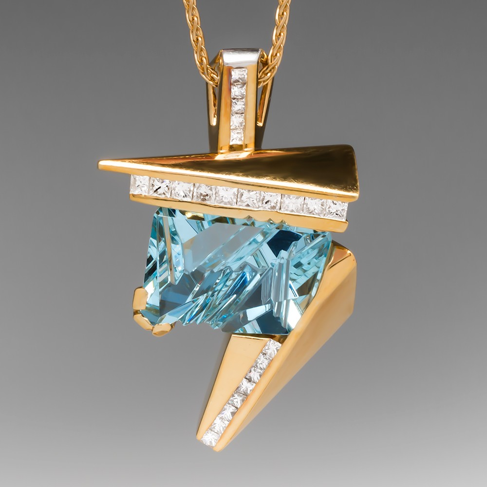Fantasy Cut Aquamarine & Diamond Pendant by Anthony Gerard