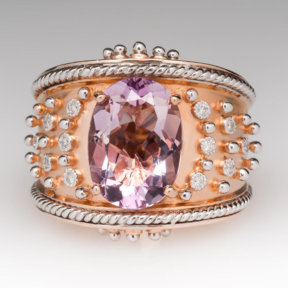 14K Rose Gold Amethyst Diamond Wide Band Cocktail Ring