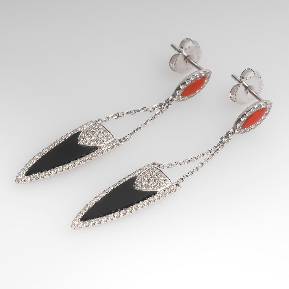 Gabriel & Co. Onyx Carnelian & Diamond Deco Dandle Earrings