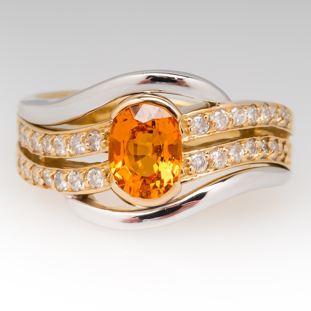 Two Tone 18K Gold Ladies Orange Sapphire and Diamond Ring