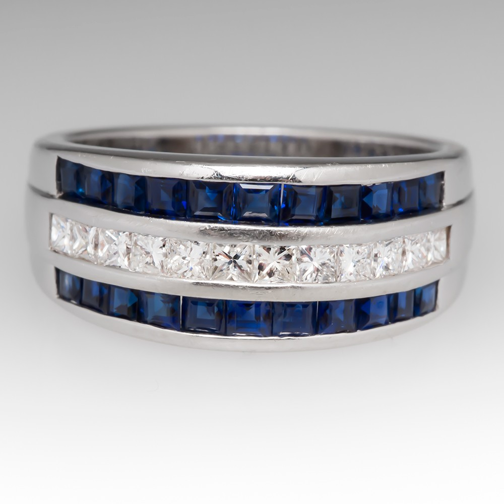 Channel Set Diamond & Blue Sapphire Band Ring 14K