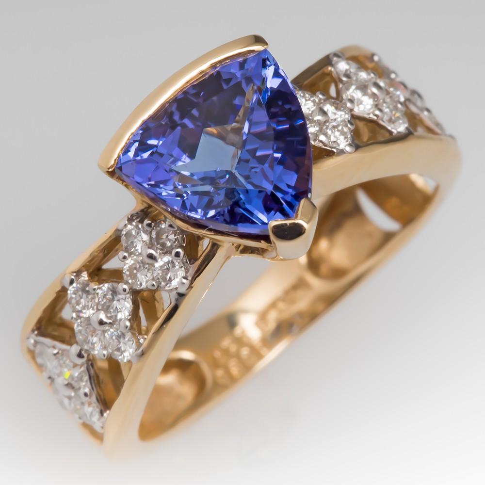 Stephanie Occipinti Tanzanite Ring 14K Gold with Diamonds