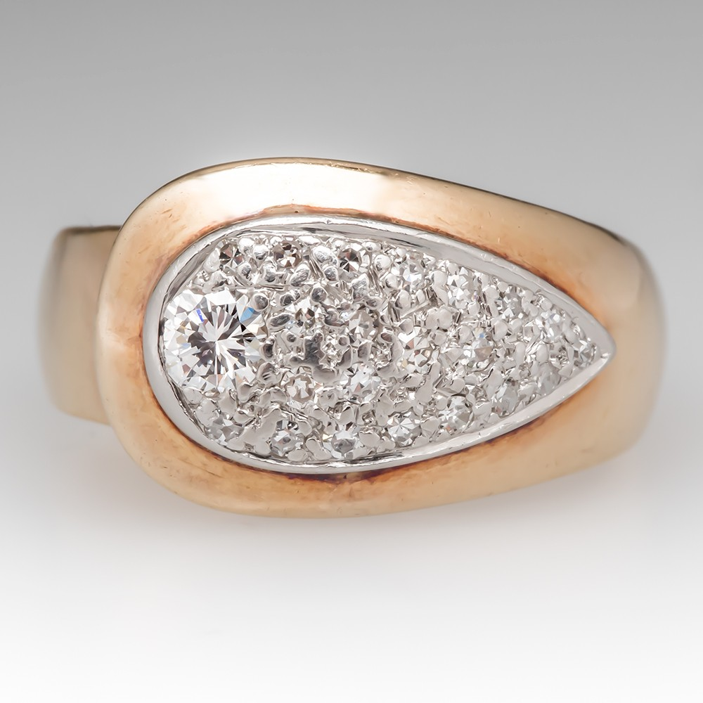 Estate Diamond Cocktail Ring 14K Yellow Gold w/ Platinum