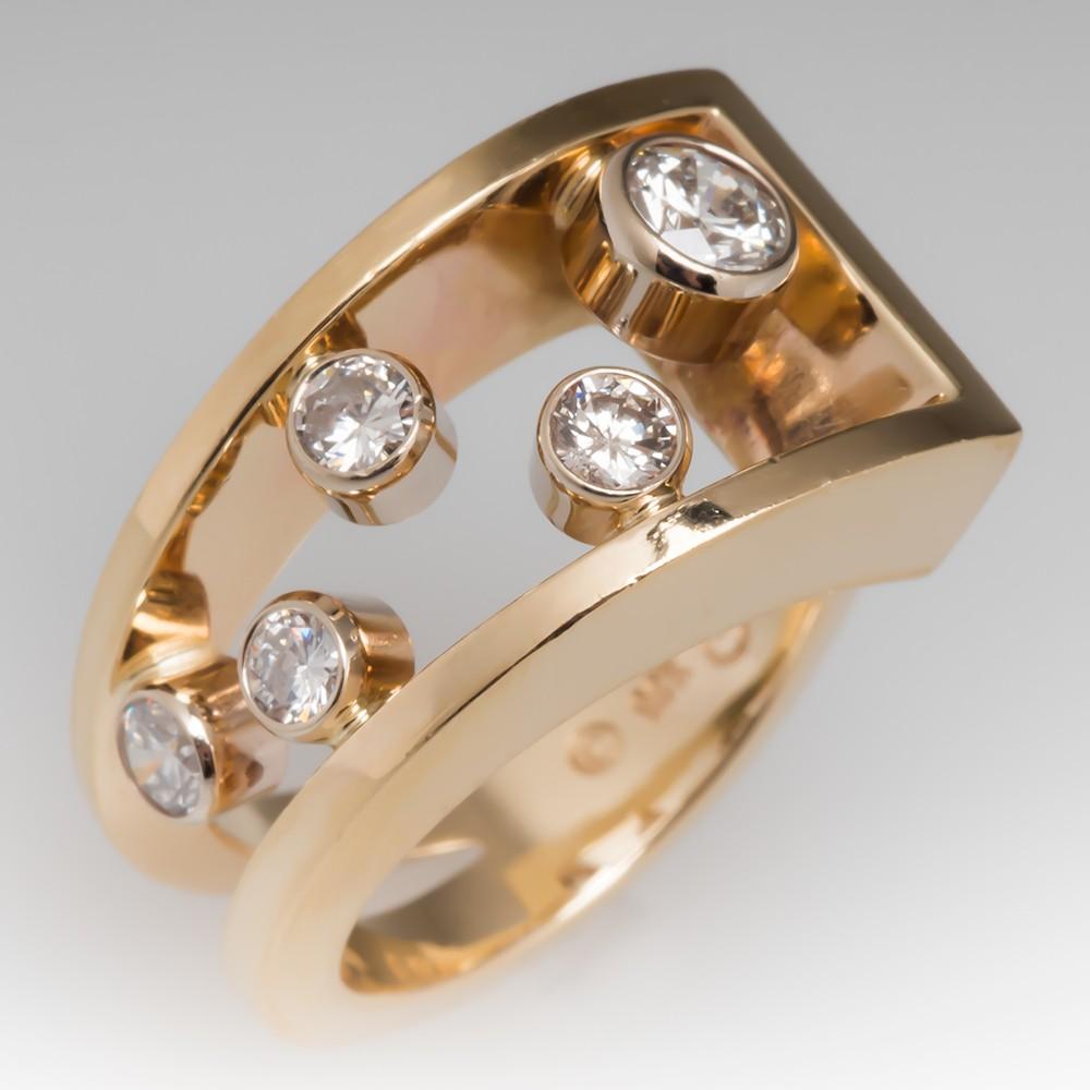Ladies Diamond Cocktail Ring Asymmetrical 14K Yellow Gold
