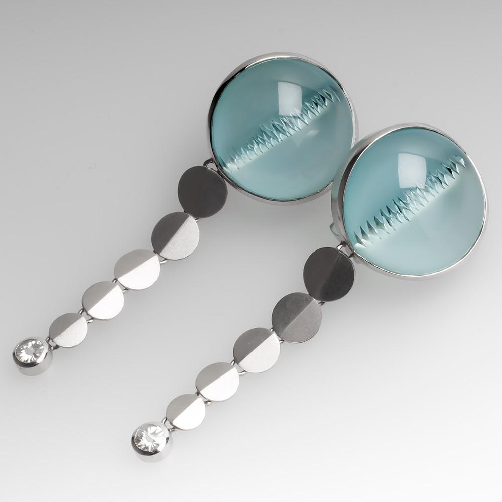 Munsteiner Aquamarine Earrings Platinum w/Spirit Sun Diamonds
