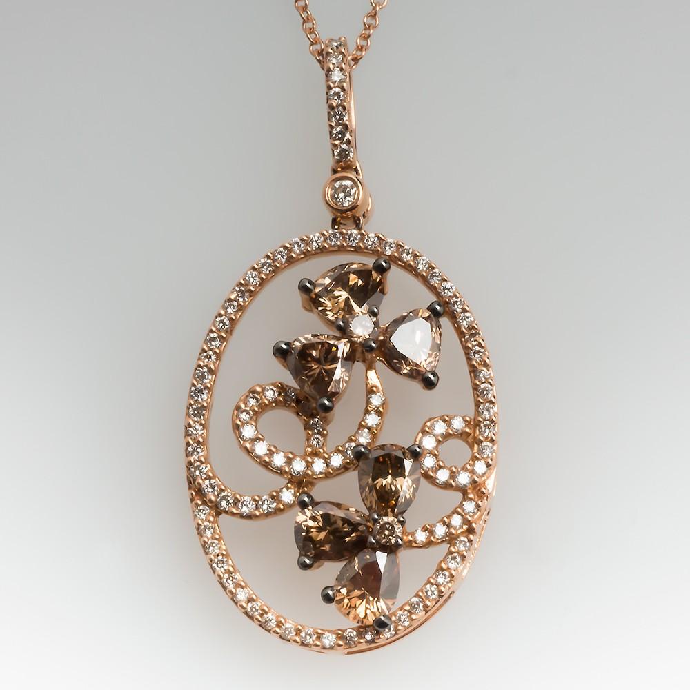 Carlo Viani Fancy Brown Diamond Floral Pendant Necklace 14K Rose Gold