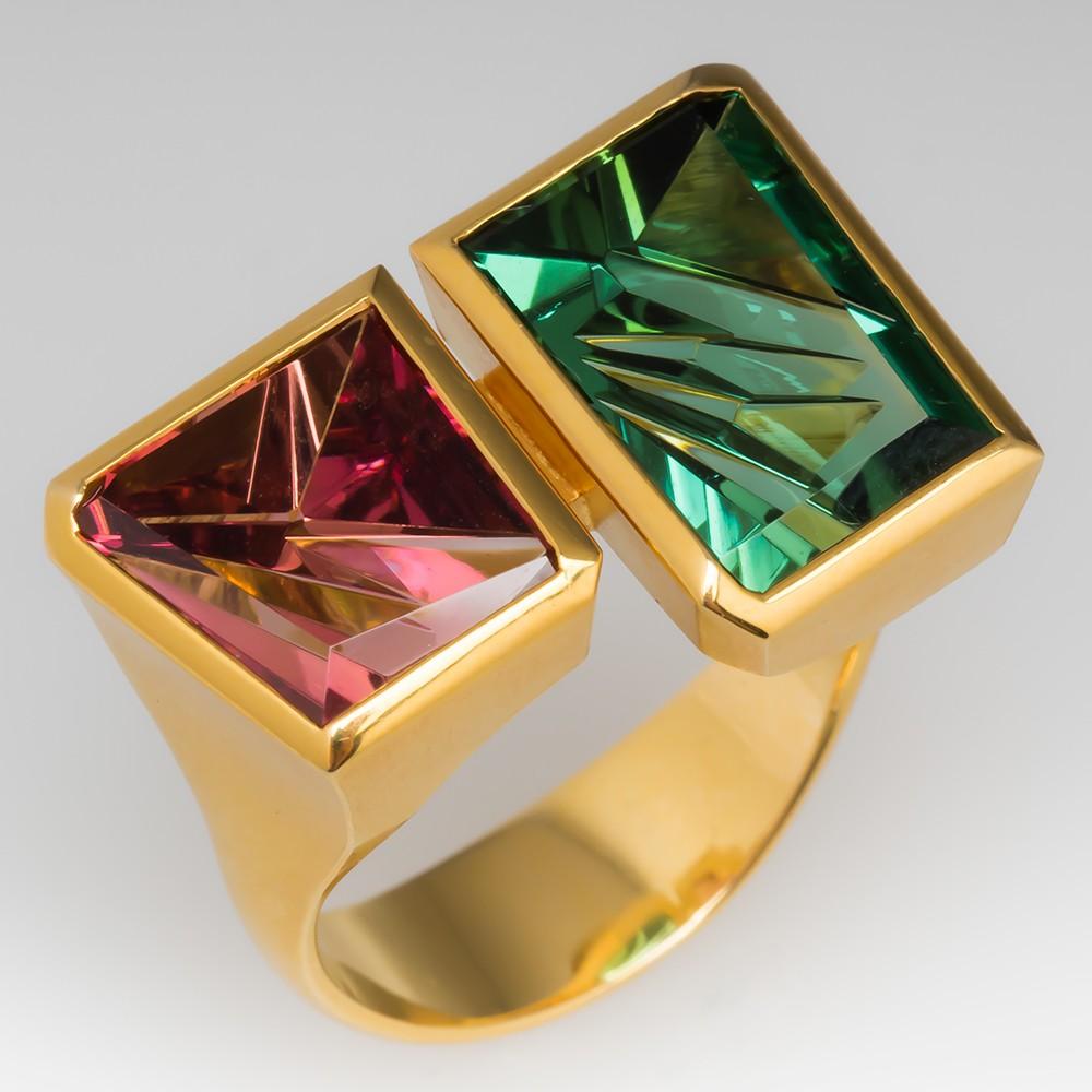 Munsteiner Cut Tourmaline Ring Green & Pink 18K Gold