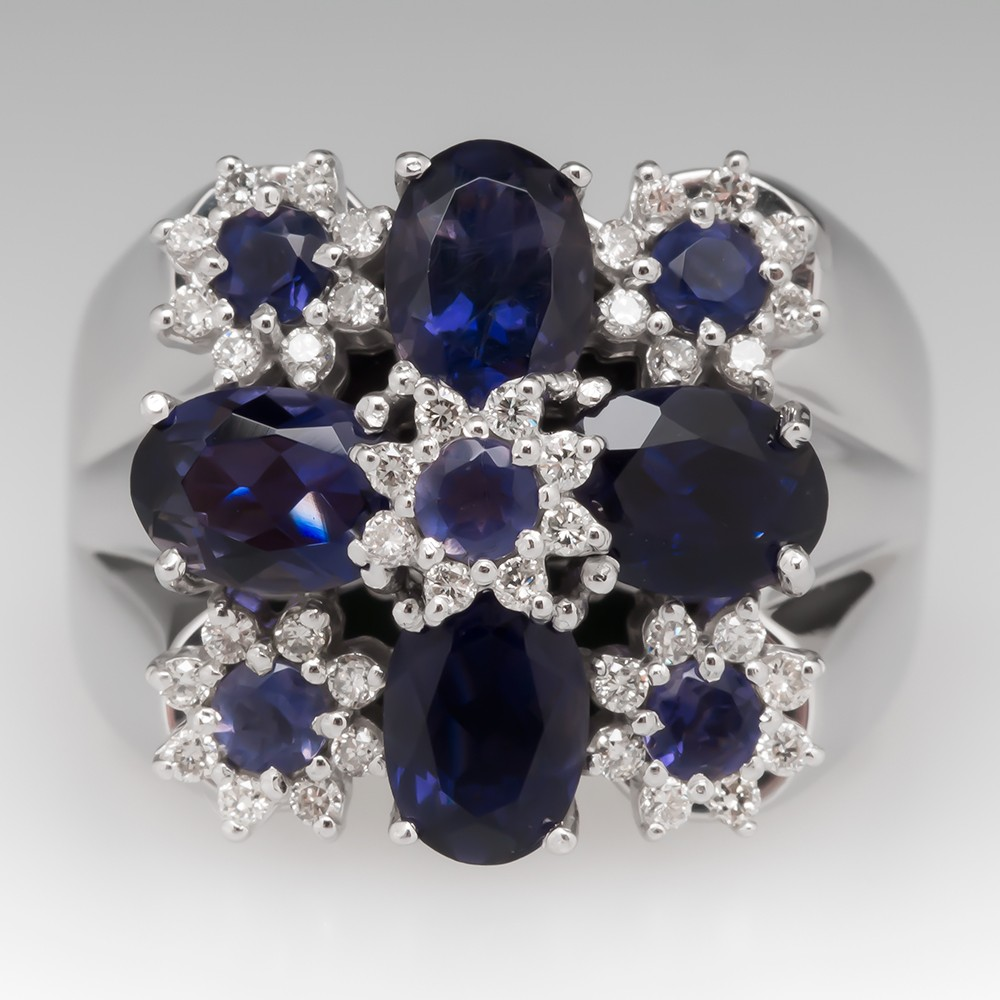 Vancox Iolite & Diamond Floral Cocktail Ring 14K White Gold