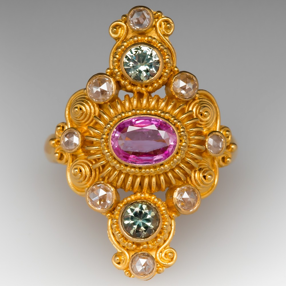 Neda Behnam Pink & Green Sapphire 22K Yellow Gold Ring w/ Rose Cut Diamonds