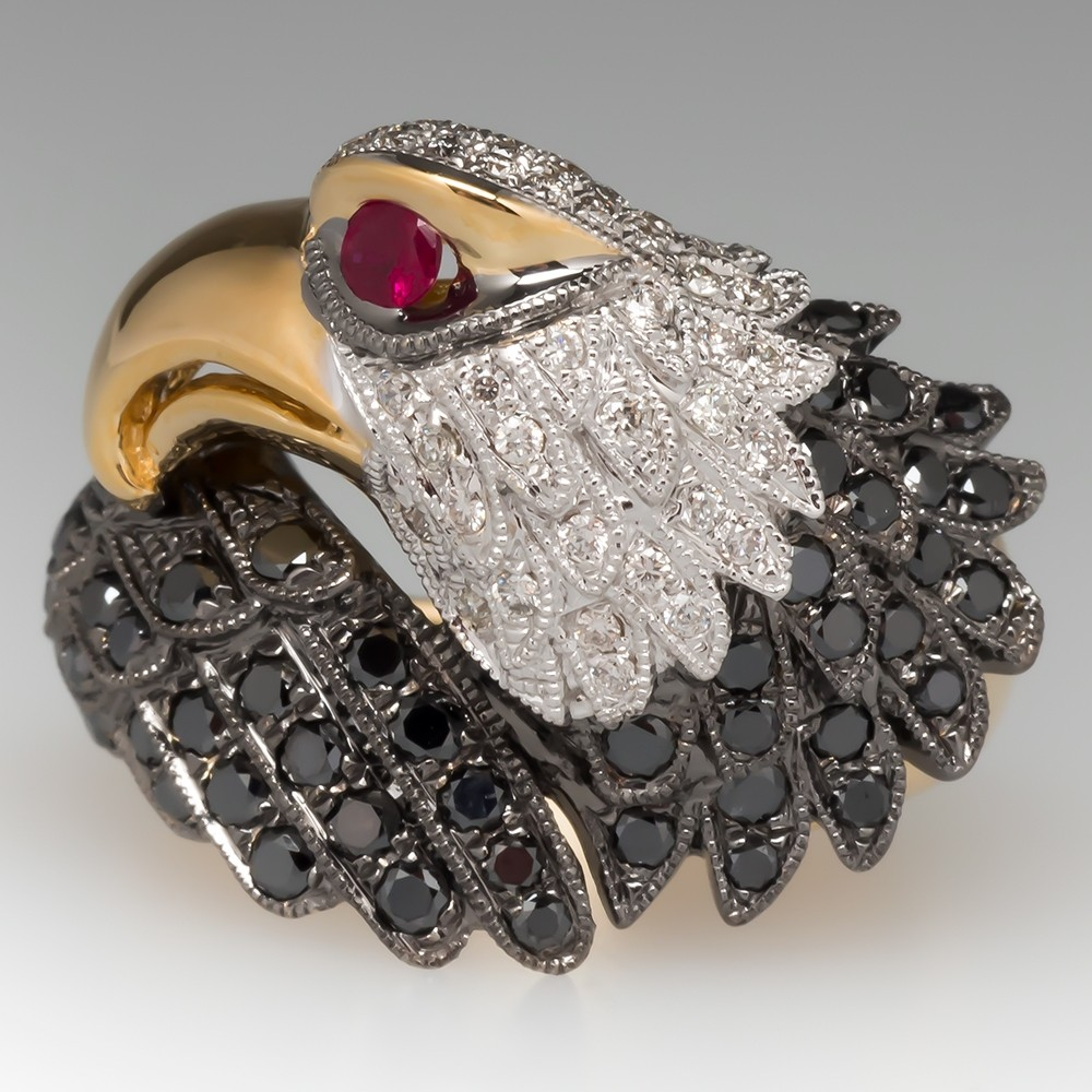 Neda Behnam Bald Eagle Ring Ruby Diamonds 18K Gold