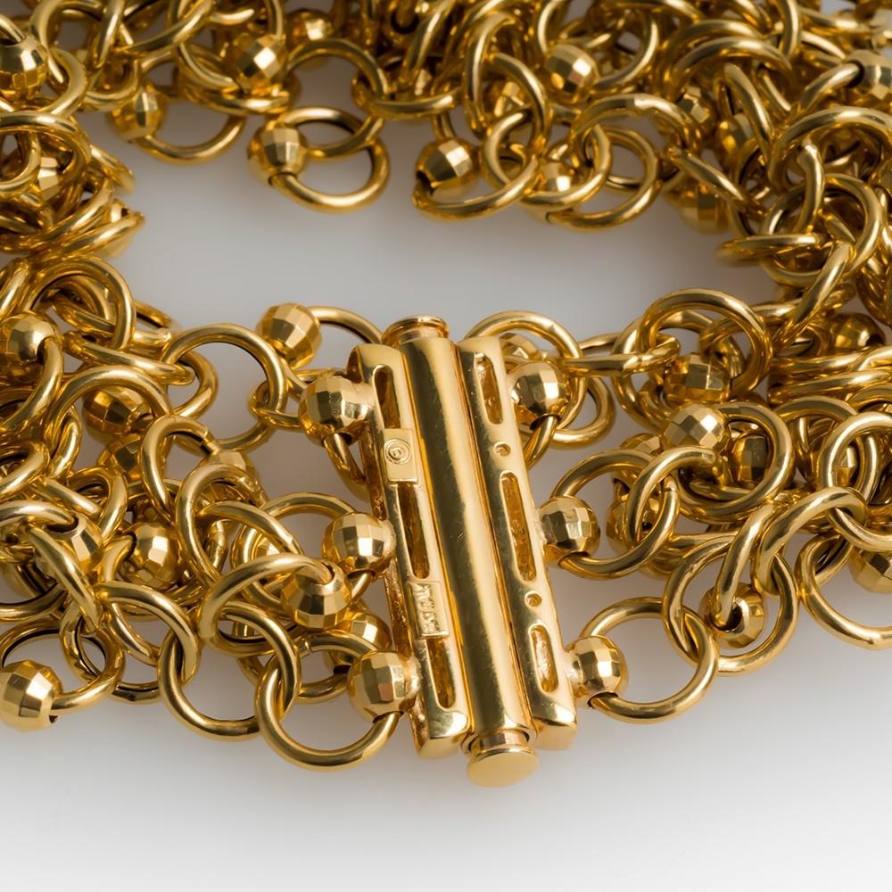 Italian 14K Gold Chain Link Bracelet 1 Inch Wide Cuff