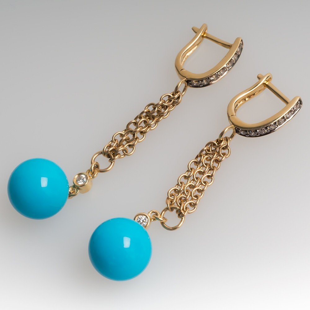 Carlo Viani Turquoise & Diamond Dangle Earrings 14K