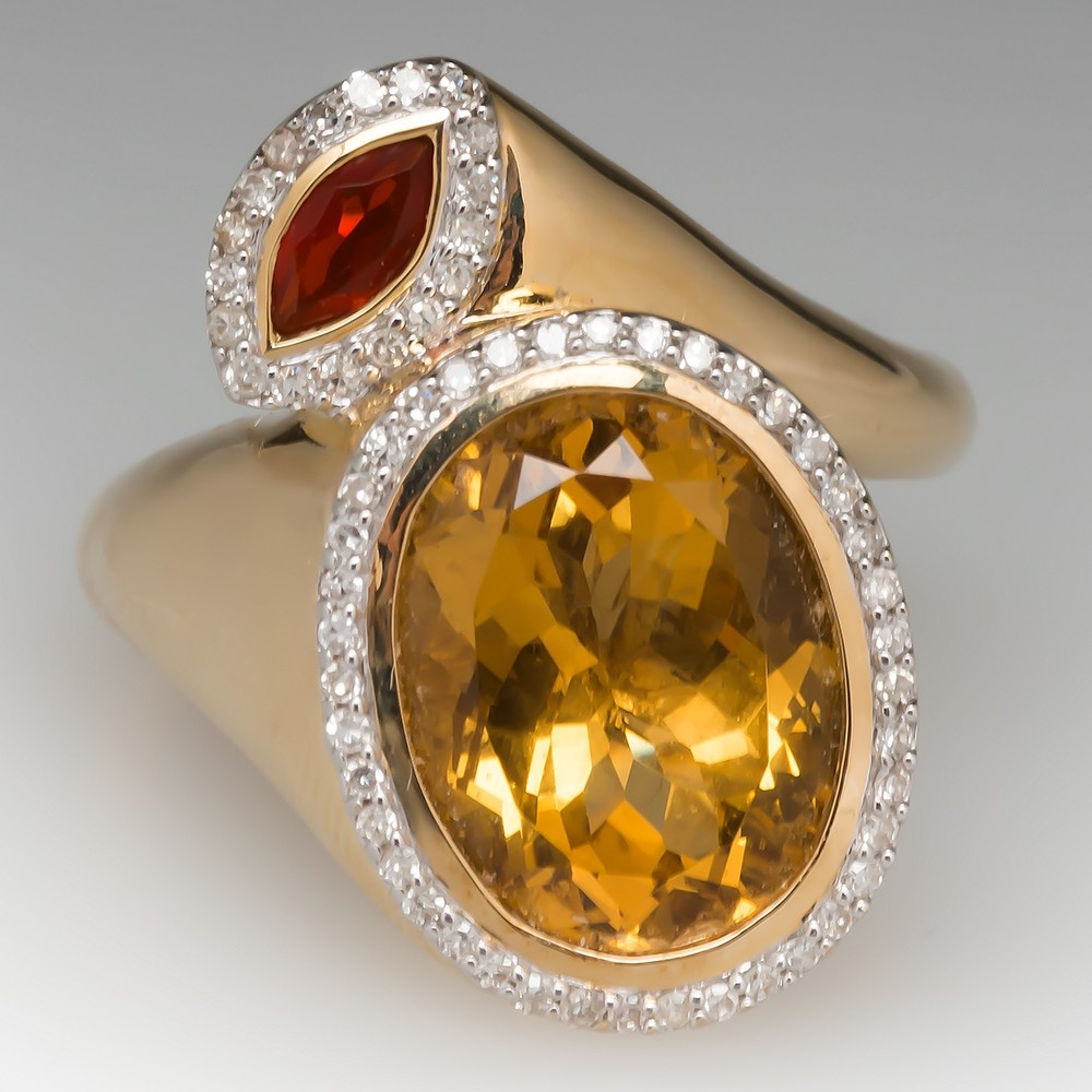 Citrine & Fire Opal Bypass Cocktail Ring 14K Yellow Gold