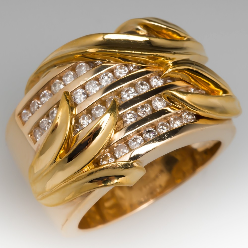 Stephanie Occhipinti Wide Band Diamond Nature Ring 14K Gold with 22K