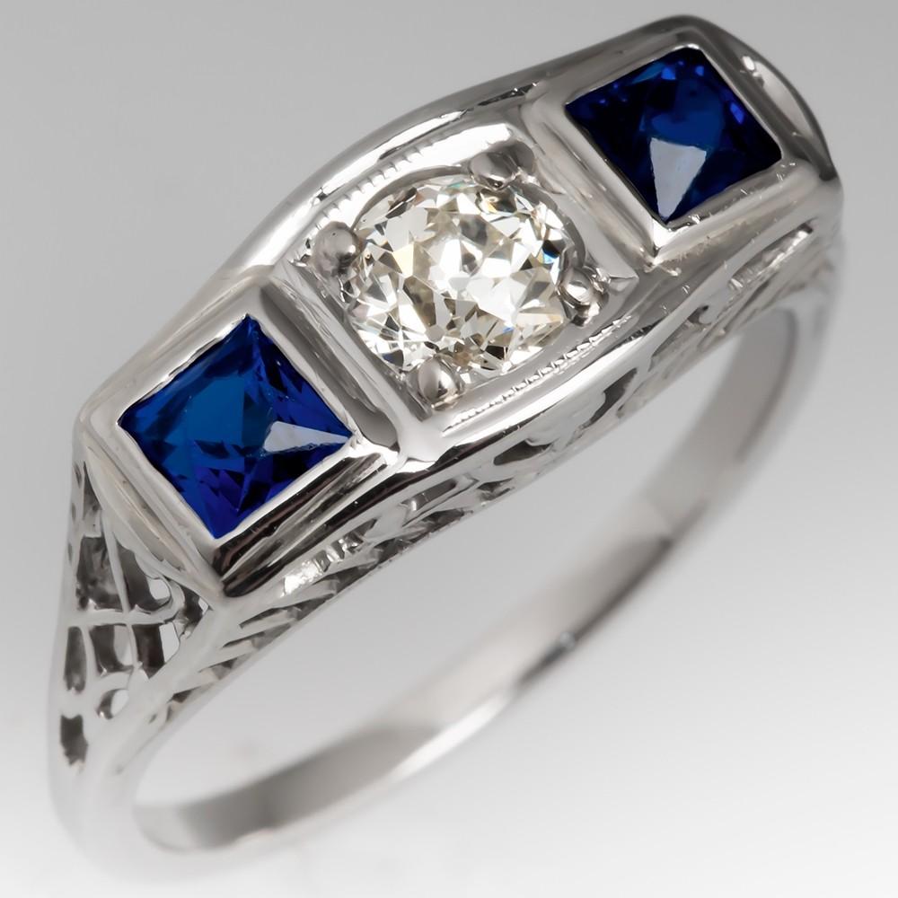 Late Art Deco Filigree Ring Old Euro Diamond & Created Sapphires
