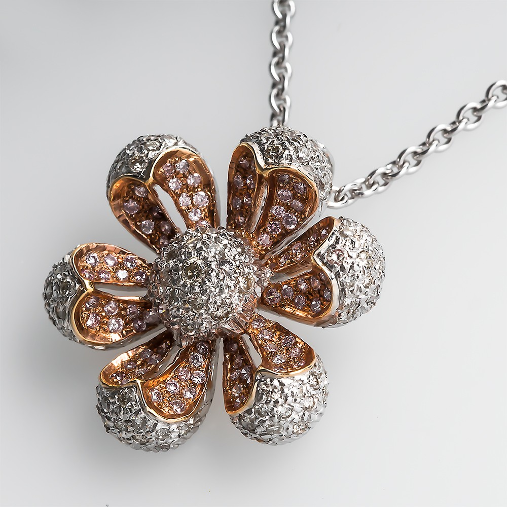 Pink Diamond Floral Pendant Necklace