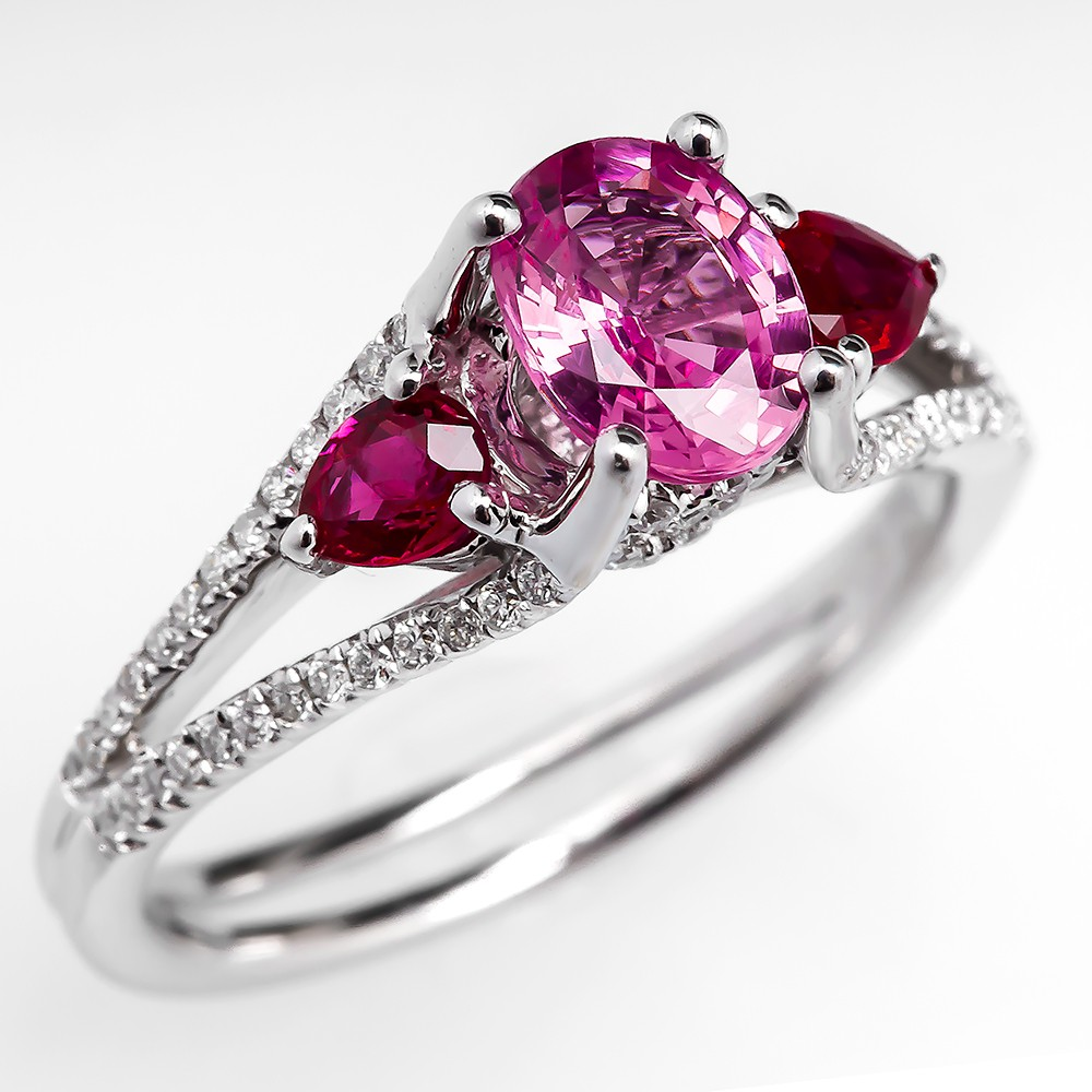Pink Sapphire Red Ruby Engagement Ring