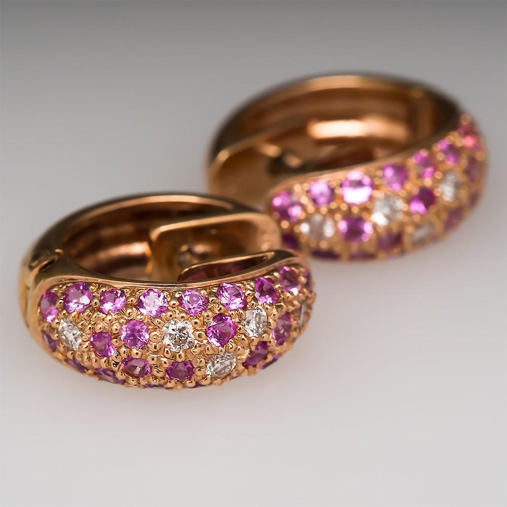 Pink Sapphire Huggie Earrings
