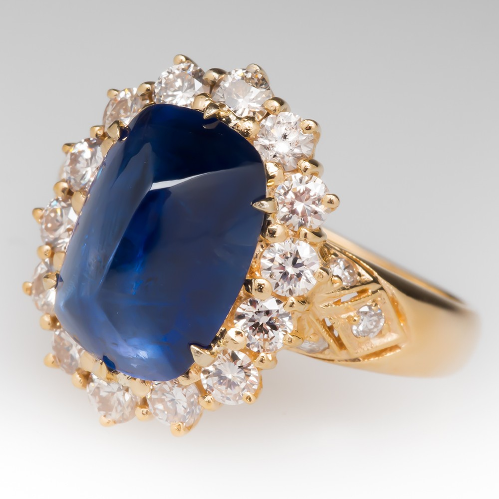 4.7 Carat Sugarloaf Blue Sapphire & Diamond Halo Ring 18K