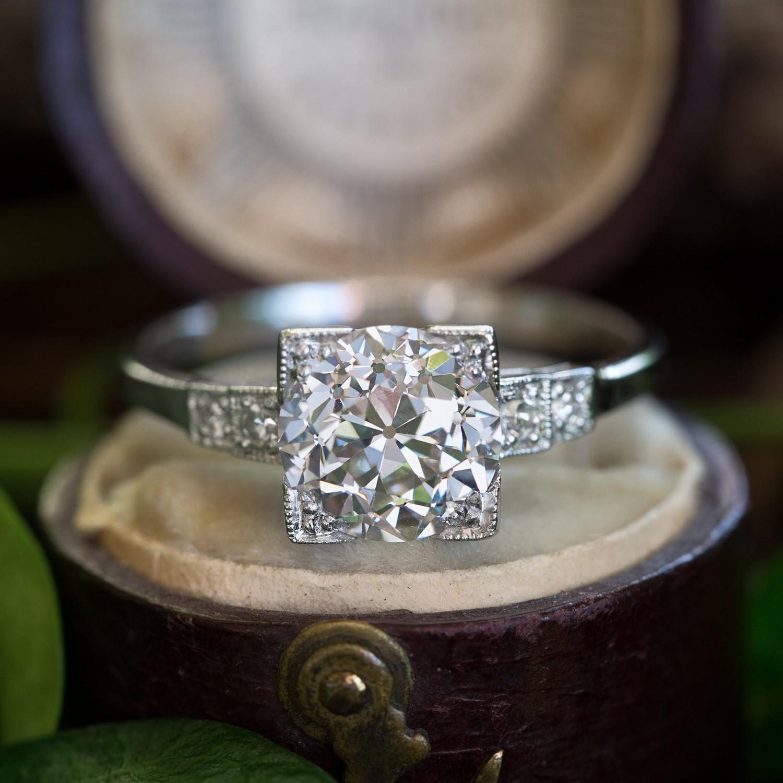 Art Deco Diamond Engagement Ring 2.4 Carat Old Euro