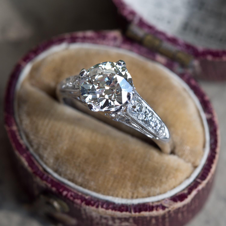 1.5 Carat Old European Cut Diamond 1920's Platinum Engagement Ring
