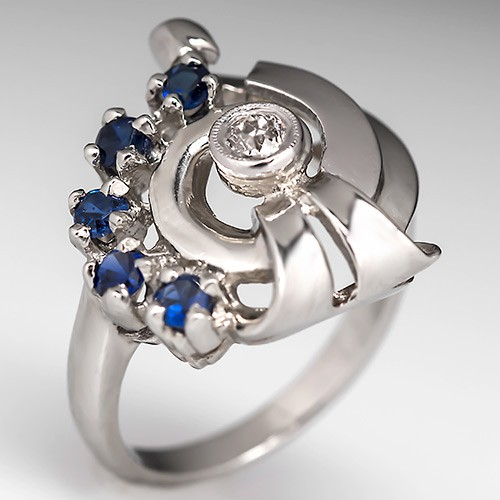 Retro Diamond Sapphire Cocktail Ring