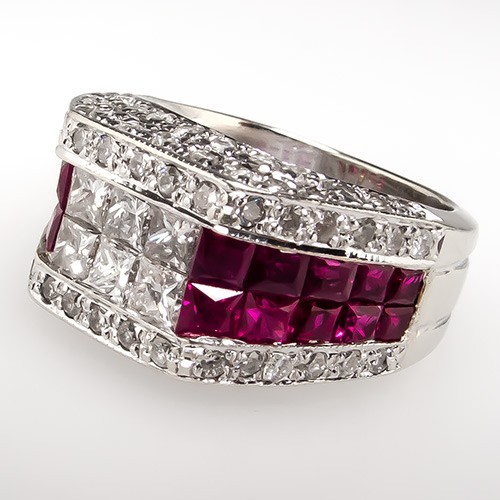 Ruby & Diamond Wide Band Ring