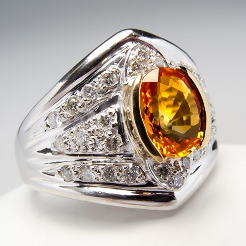 Orange Sapphire Diamond Ring Platinum