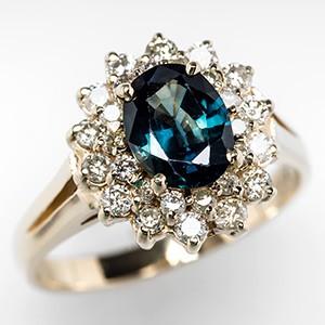 Diamond Halo Blue Green Sapphire Ring 14K Gold