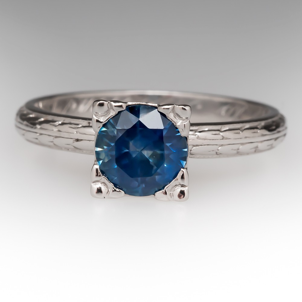 Vintage Montana Sapphire Solitaire Ring in Platinum
