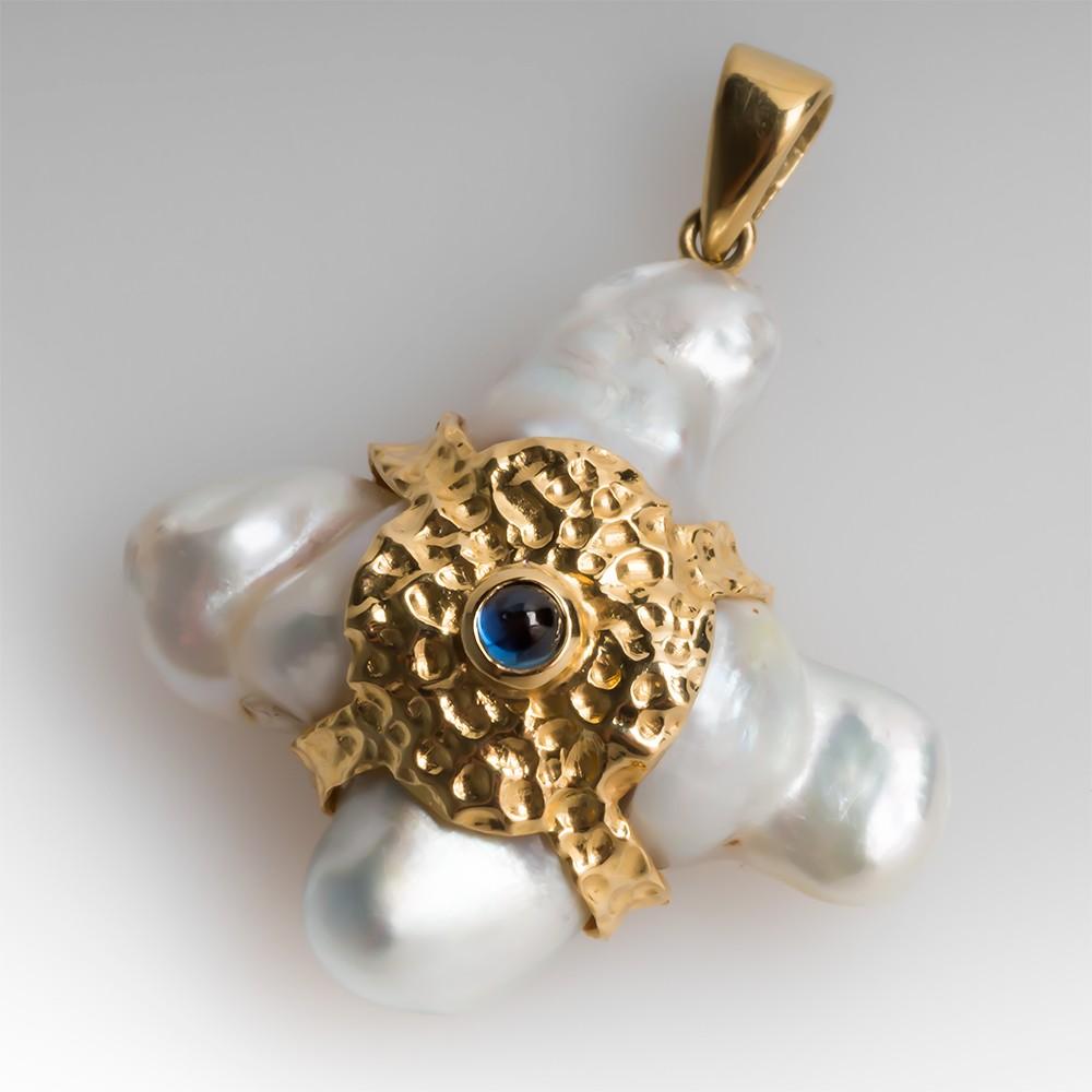 18K Freeform Pearl & Sapphire Pendant