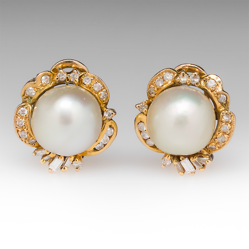 Vintage Pearl Diamond Earrings Omega Backs 14K