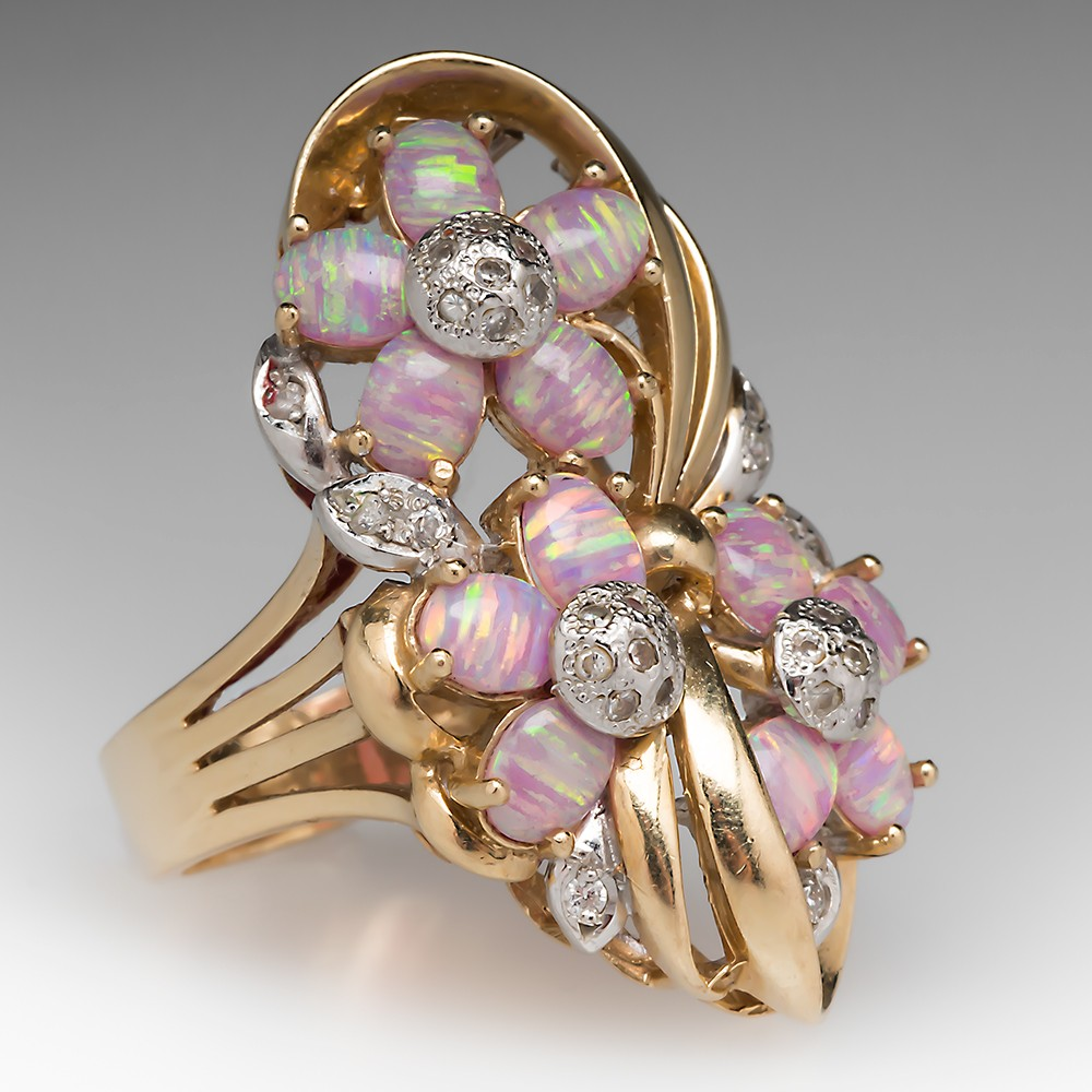 14K Created Opal & Diamond Flower Cocktail Ring