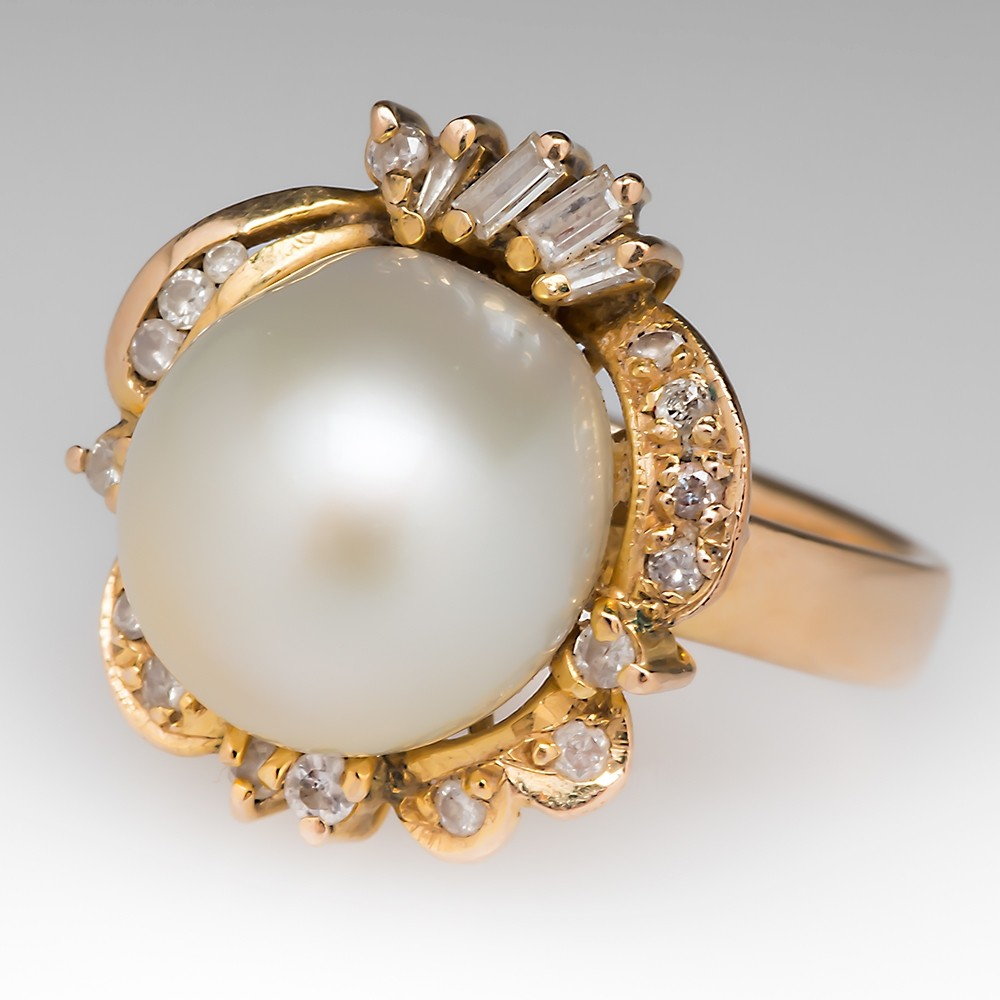 Vintage Large Pearl & Diamond Retro Cocktail Ring 14K Gold