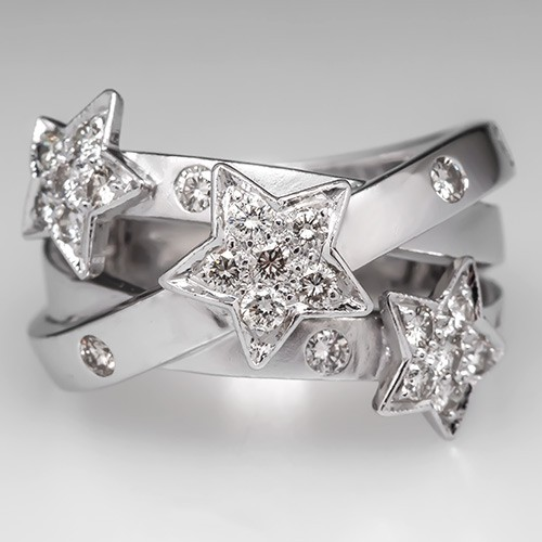 Star Motif Diamond Band Ring