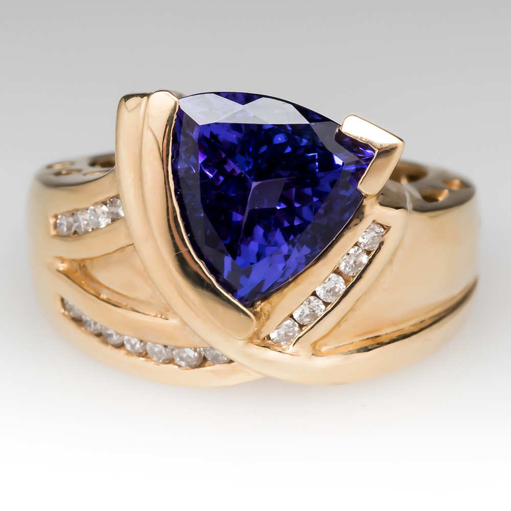 premier tanzanite ct ring richland halo diamond trillion product and