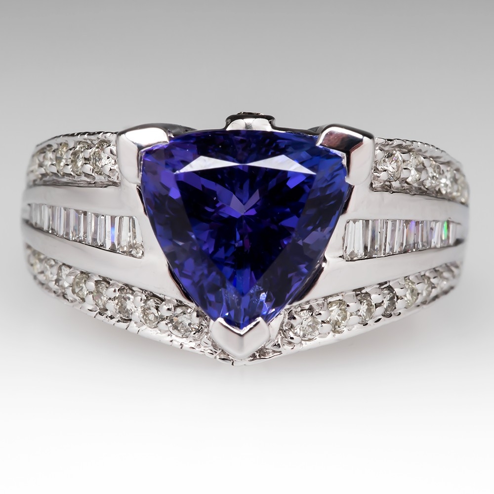 eye colour blue carat tanzanite itm well and gem trillion cut a purplish clean with ct saturated great