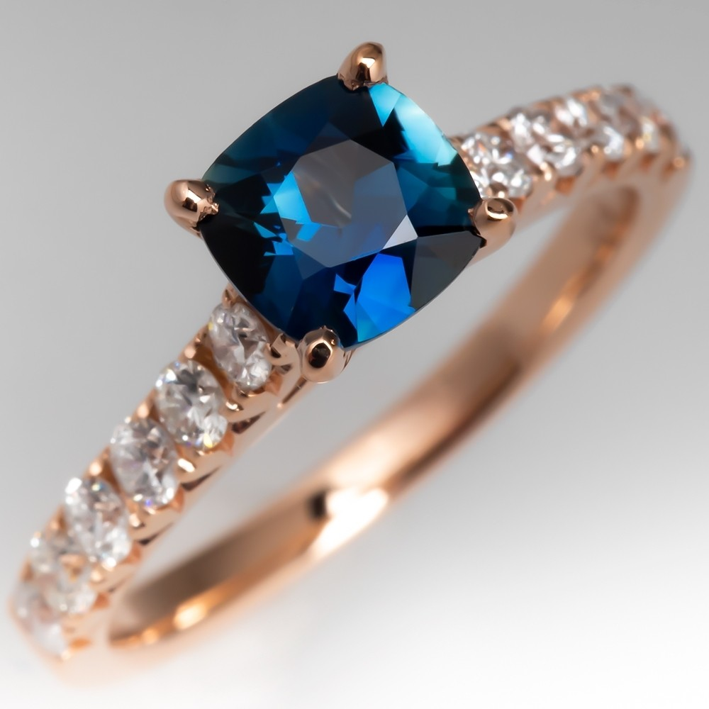 Teal Sapphire Engagement Rings
