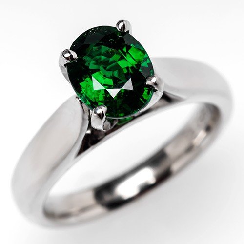 Tsavorite Garnet Engagement Ring