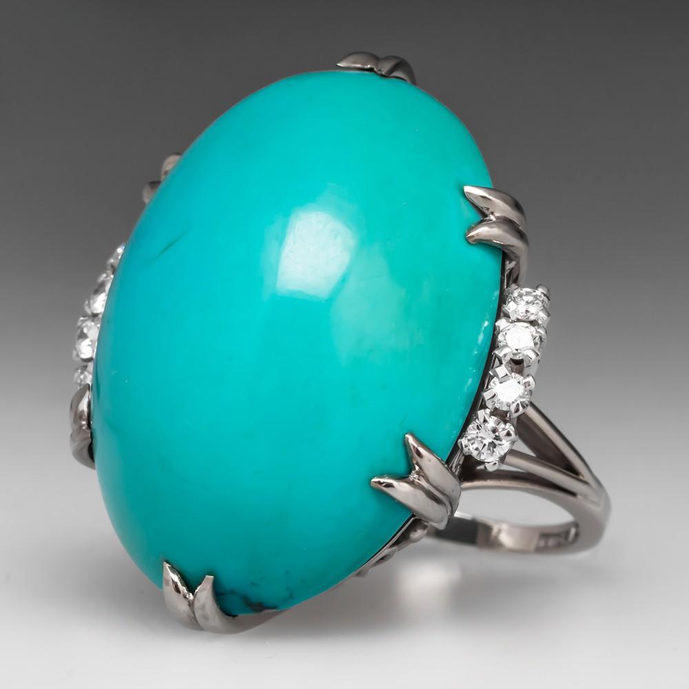Turquoise Cocktail Ring w/ Filigree Gallery Diamonds 18K White Gold & Platinum