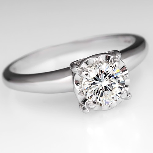 Vintage Diamond Solitaire Buttercup Engagement Ring 14K White Gold