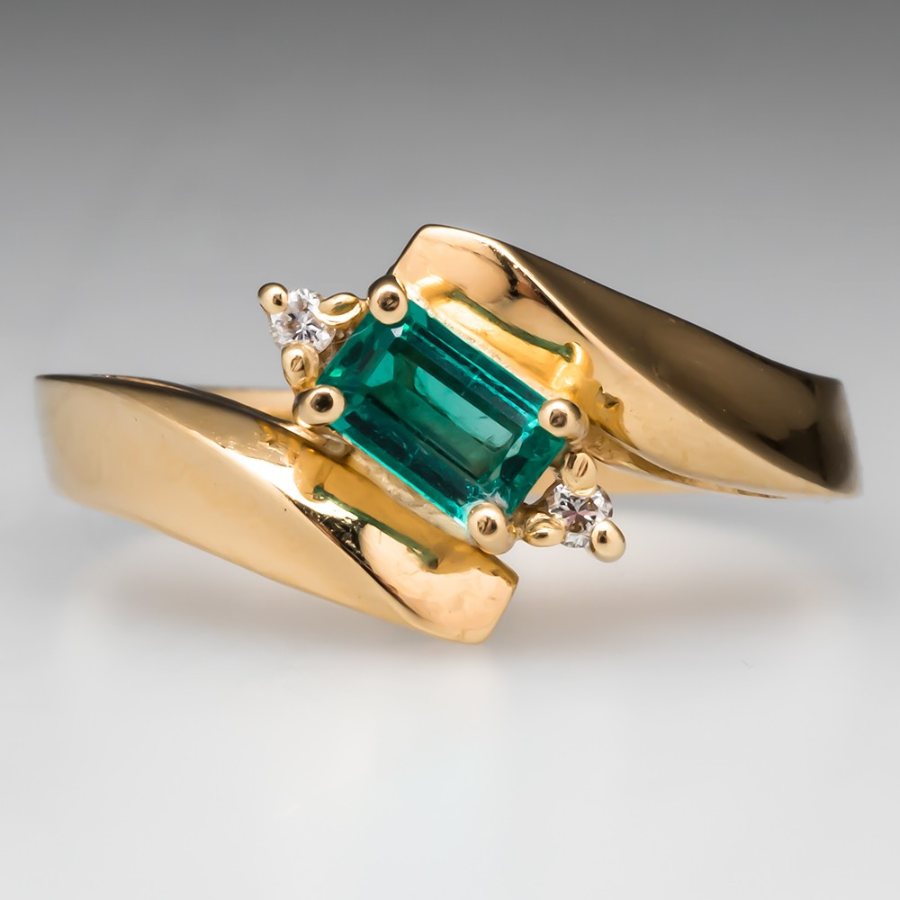 Emerald Bypass Ring