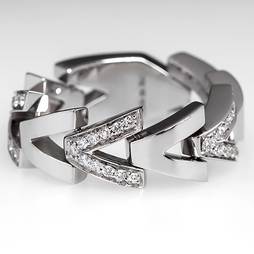 Italian V Wide Band Diamond Ring