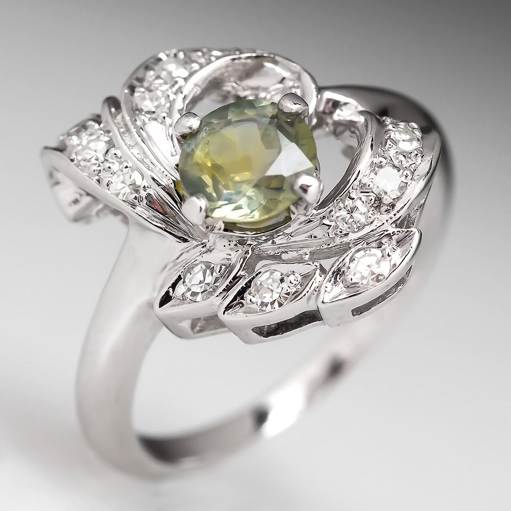 Retro Green Sapphire Ring