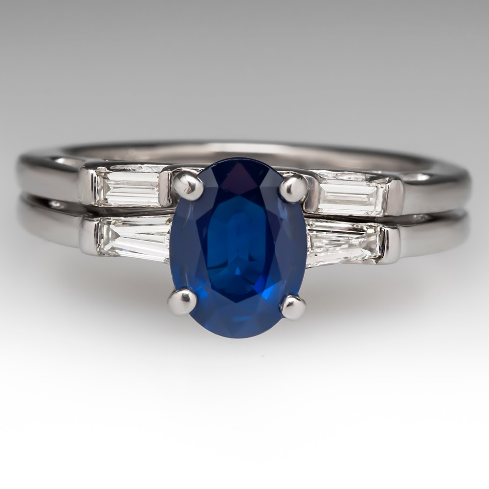 1.4 Carat Sapphire Diamond Platinum Wedding Set