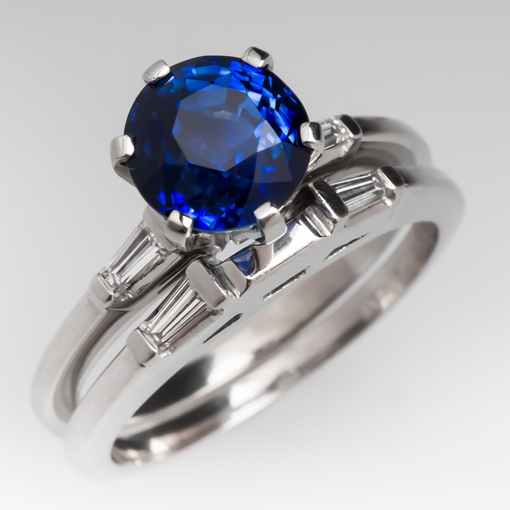 Jabel 2.5 Carat Blue Sapphire Diamond Wedding Set