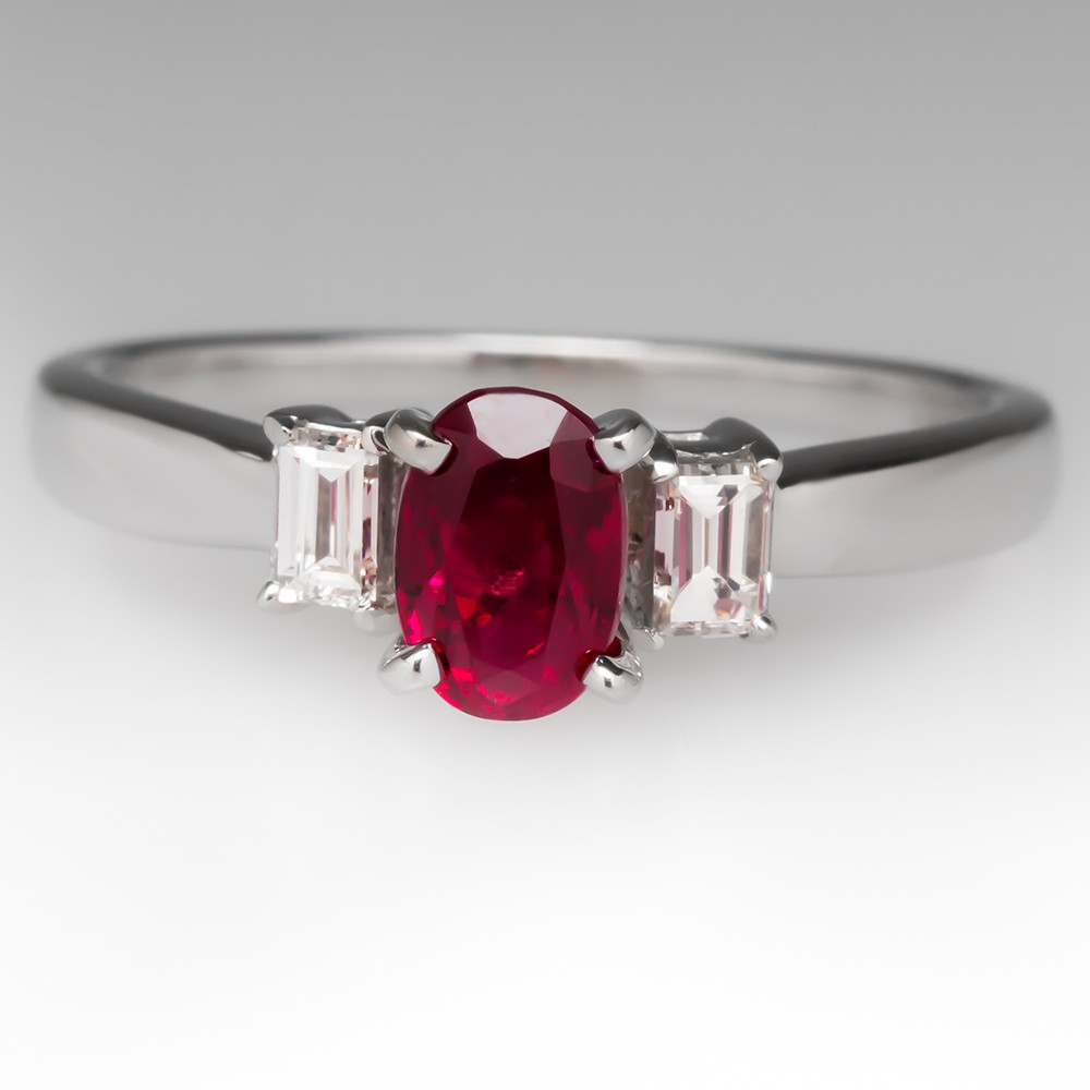 1 Carat Oval Ruby Ring Diamond Accents