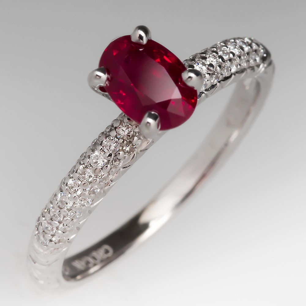 98 Carat Oval Ruby Diamond Ring