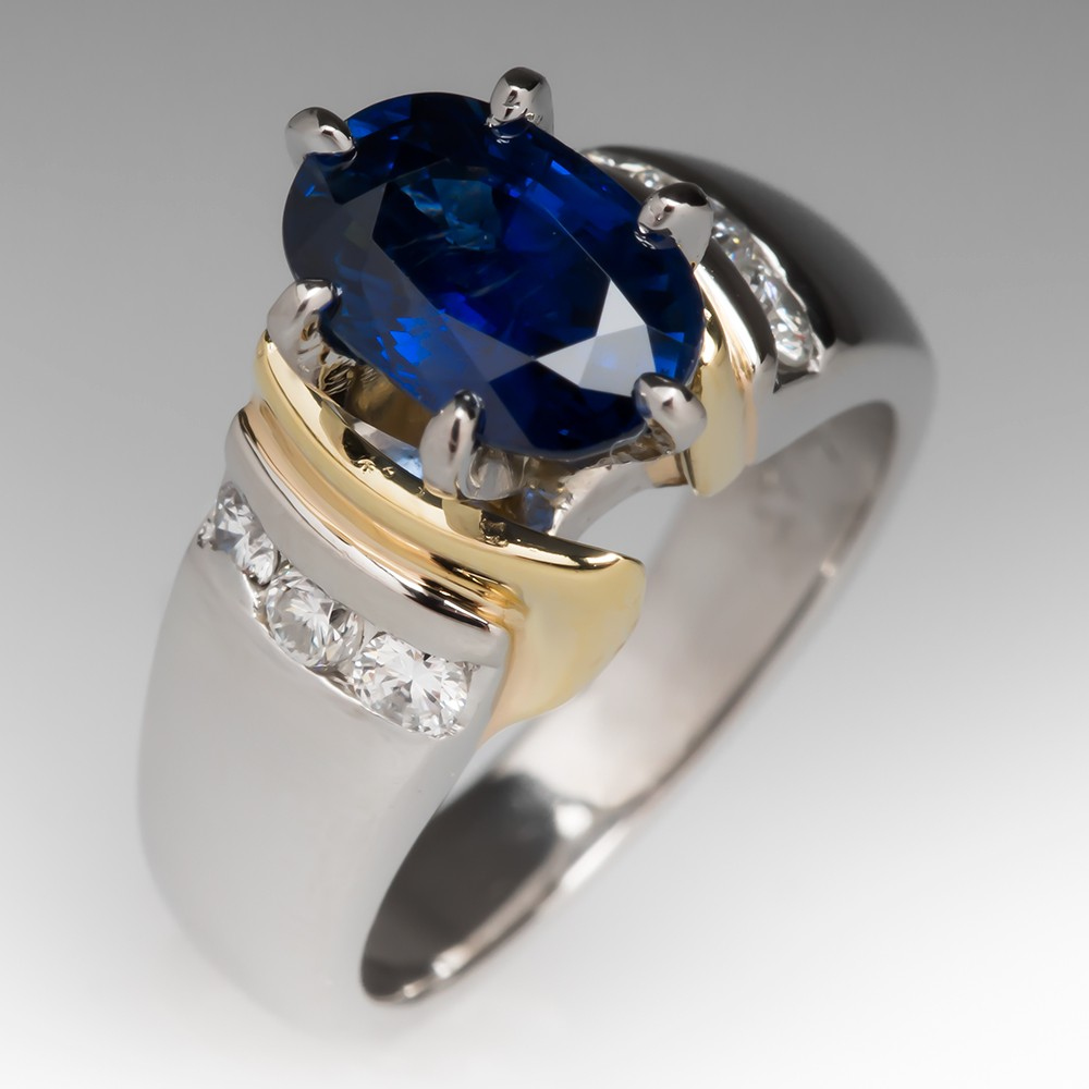 2 Carat Sapphire Two Tone Ring