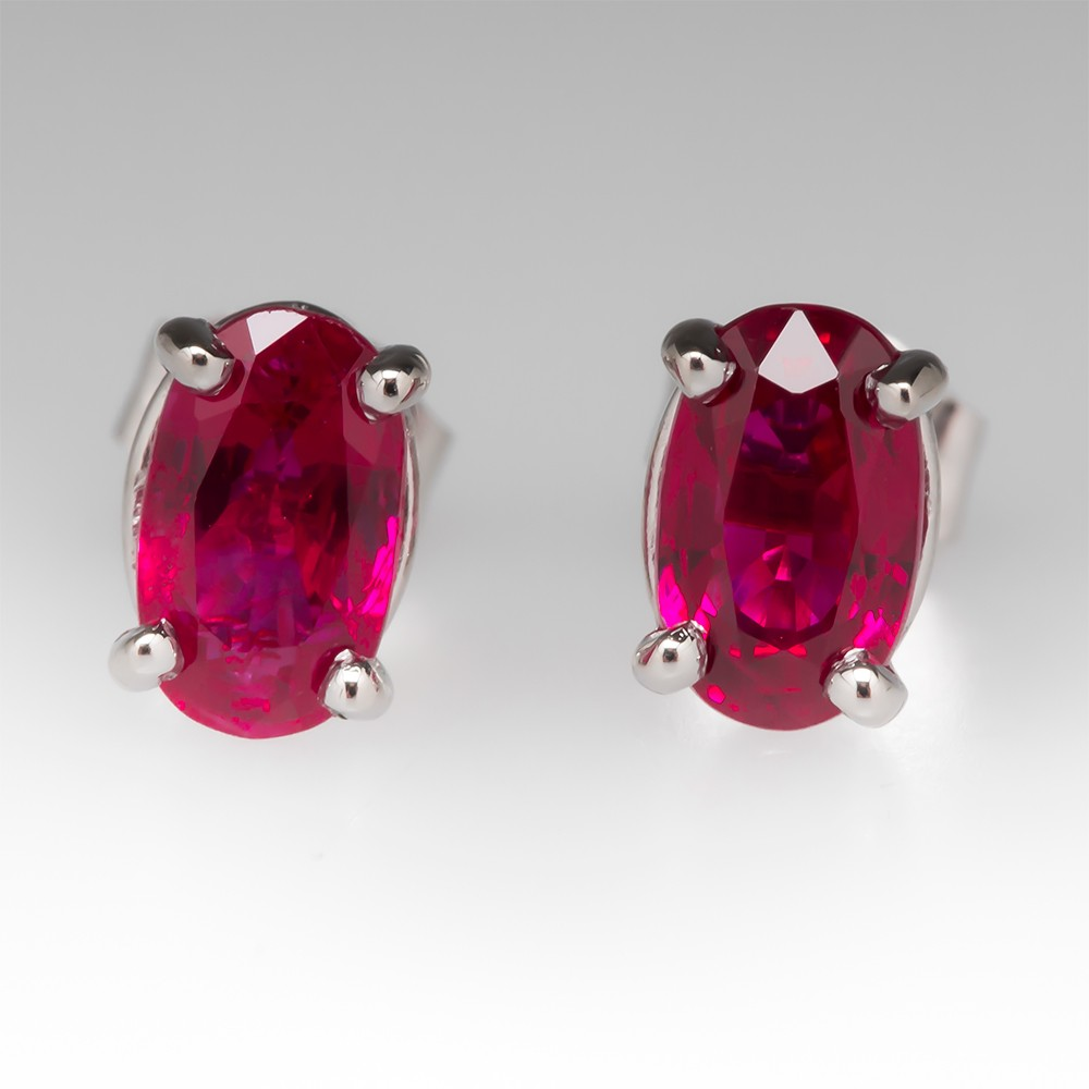 2 Total Carat Natural Ruby Stud Earrings in Platinum